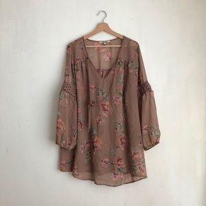 Floral blouse semi sheer pink blush roses 1X